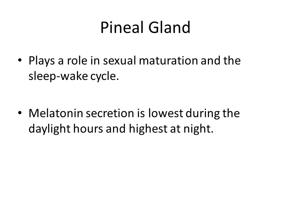 Pineal Gland Plays a role in sexual maturation and the sleep-wake cycle.