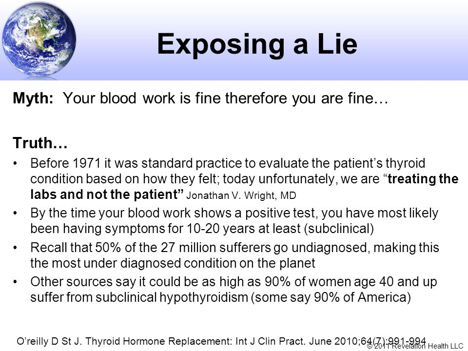 Exposing a Lie Myth: Your blood work is fine therefore you are fine…