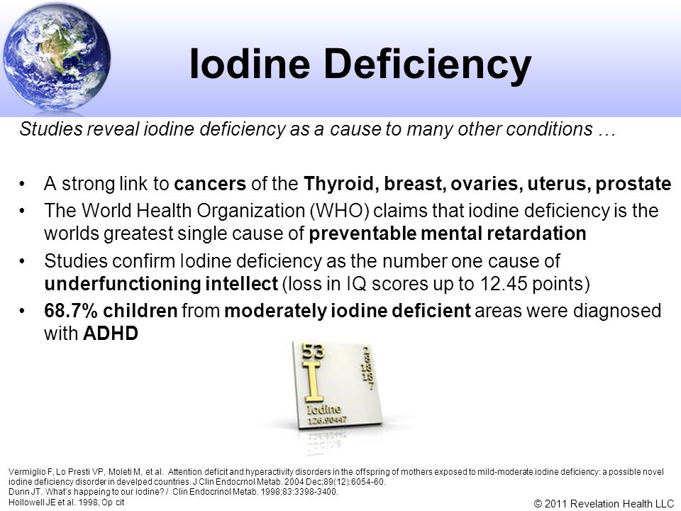 Iodine Deficiency Studies reveal iodine deficiency as a cause to many other conditions …