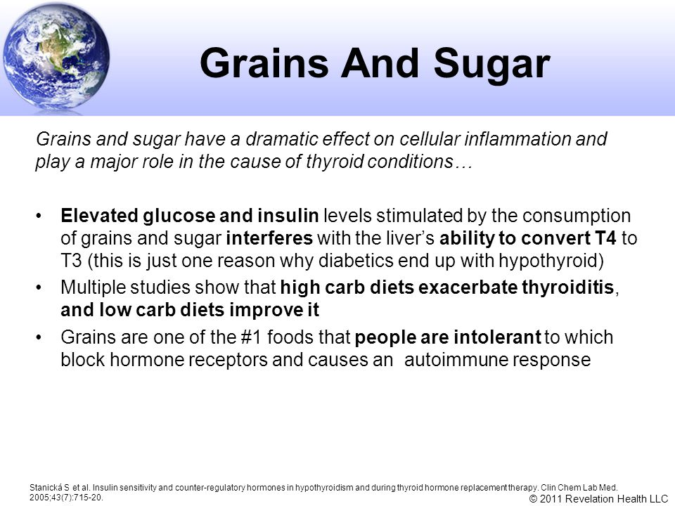 Grains And Sugar Grains and sugar have a dramatic effect on cellular inflammation and play a major role in the cause of thyroid conditions…