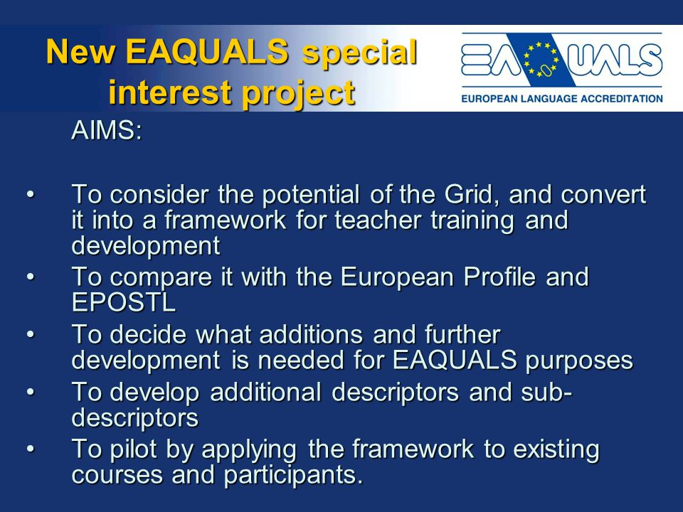 New EAQUALS special interest project