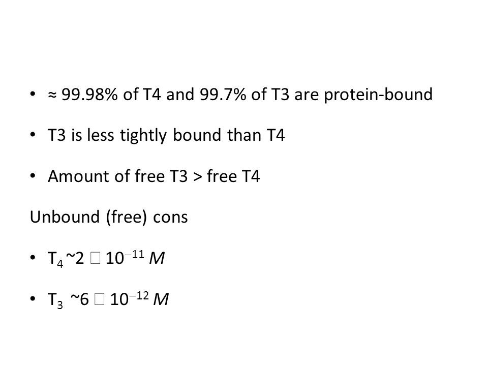≈ 99.98% of T4 and 99.7% of T3 are protein-bound