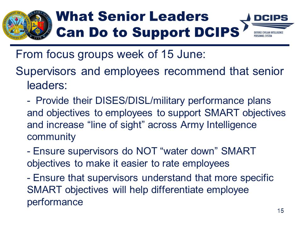 What Senior Leaders Can Do to Support DCIPS