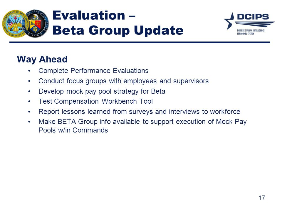 Evaluation – Beta Group Update