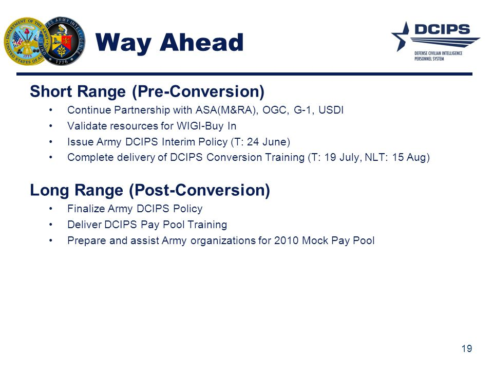 Way Ahead Short Range (Pre-Conversion) Long Range (Post-Conversion)