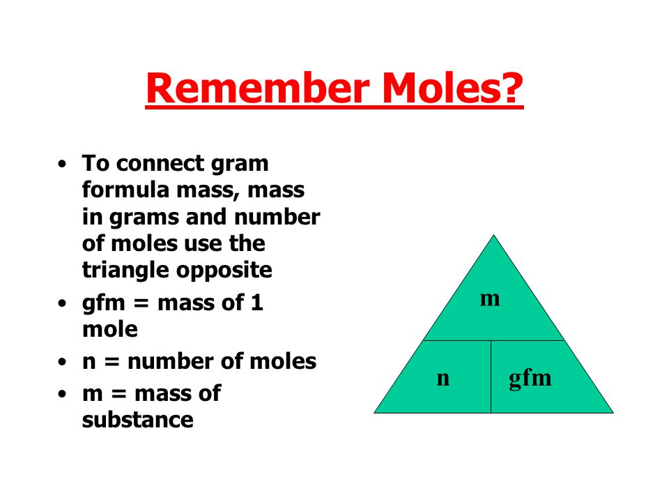 Remember Moles To connect gram formula mass, mass in grams and number of moles use the triangle opposite.