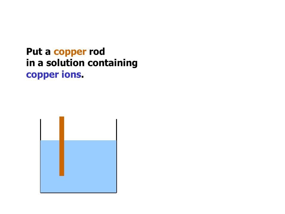 Put a copper rod in a solution containing copper ions.