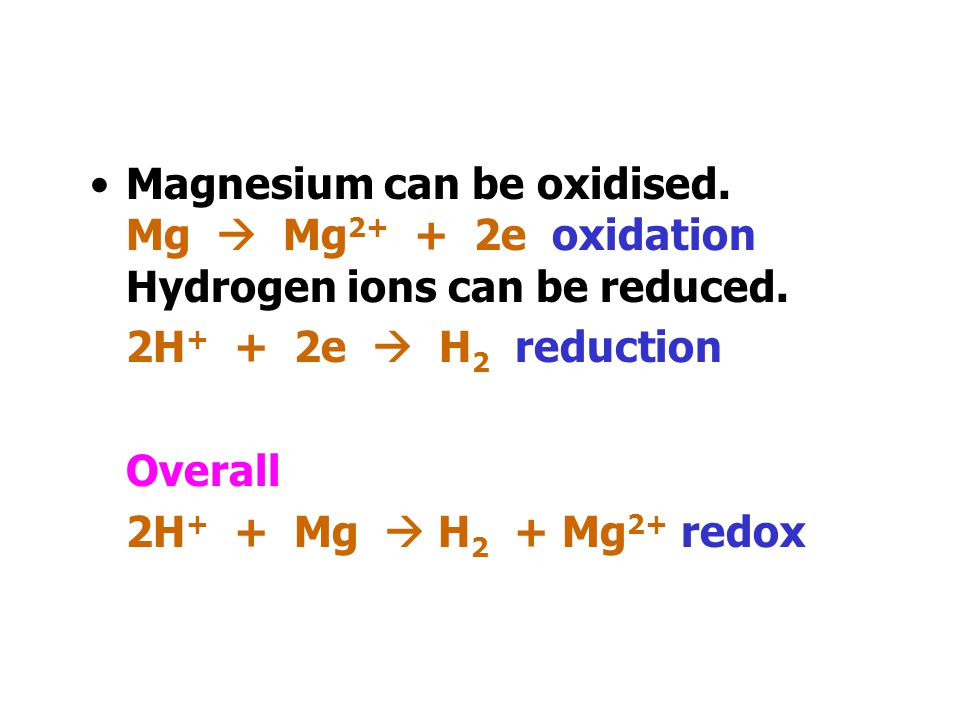 Magnesium can be oxidised.