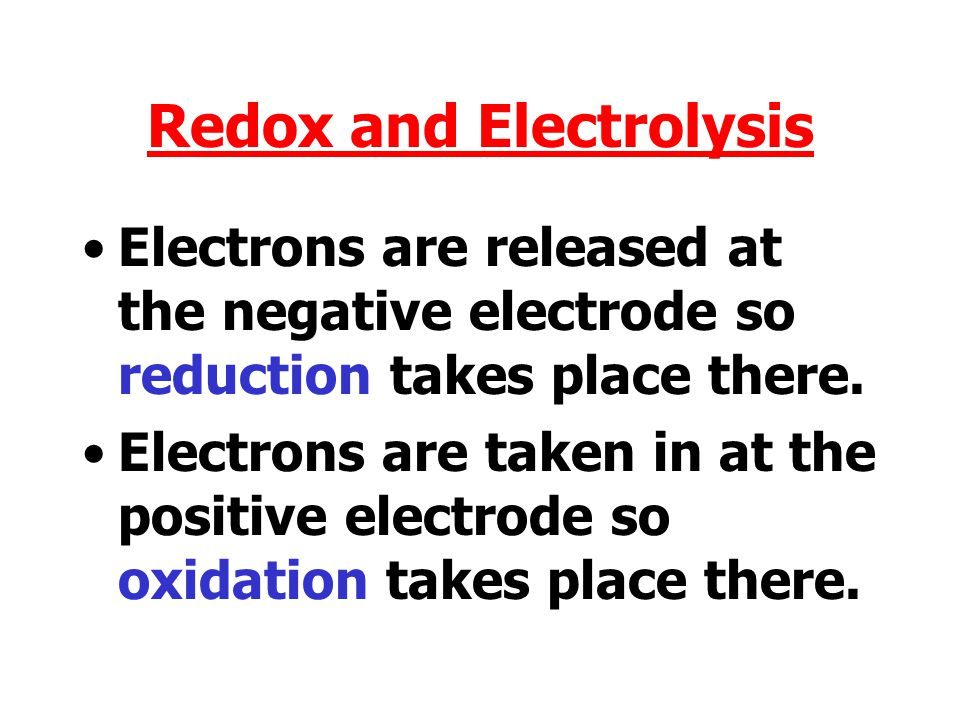 Redox and Electrolysis