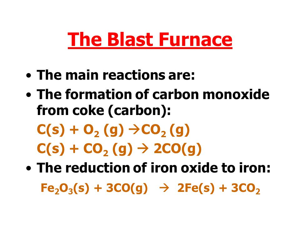 The Blast Furnace The main reactions are: