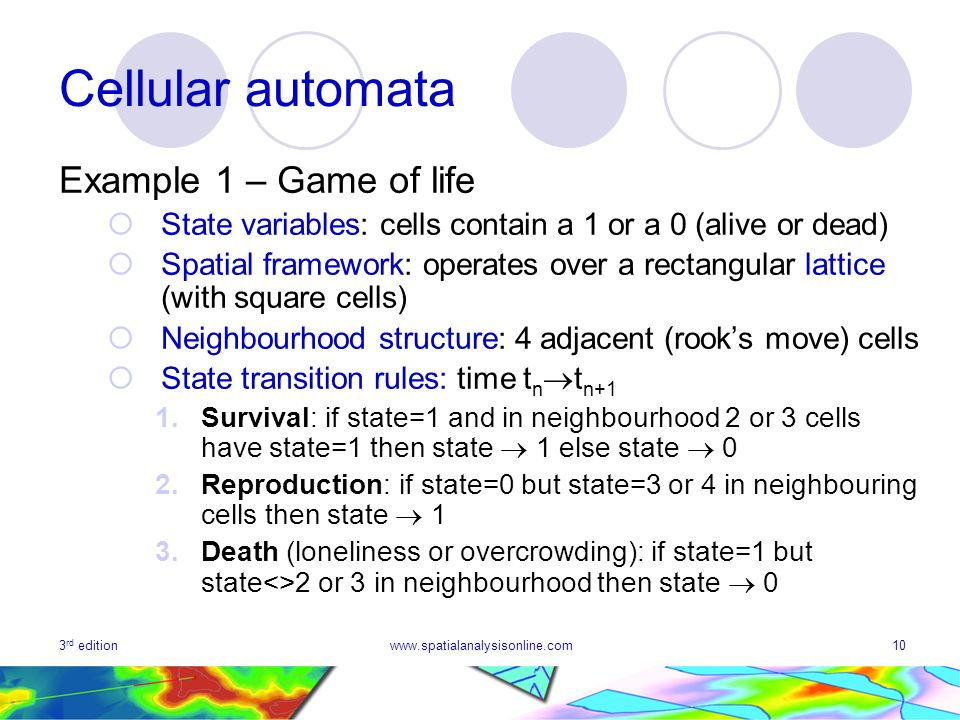 Cellular automata Example 1 – Game of life