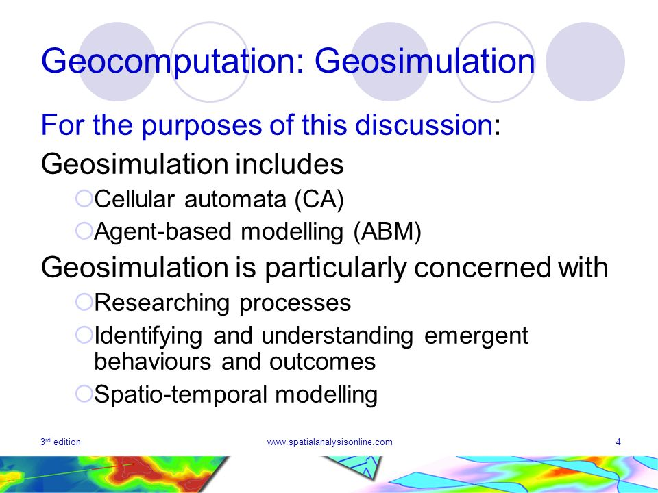 Geocomputation: Geosimulation