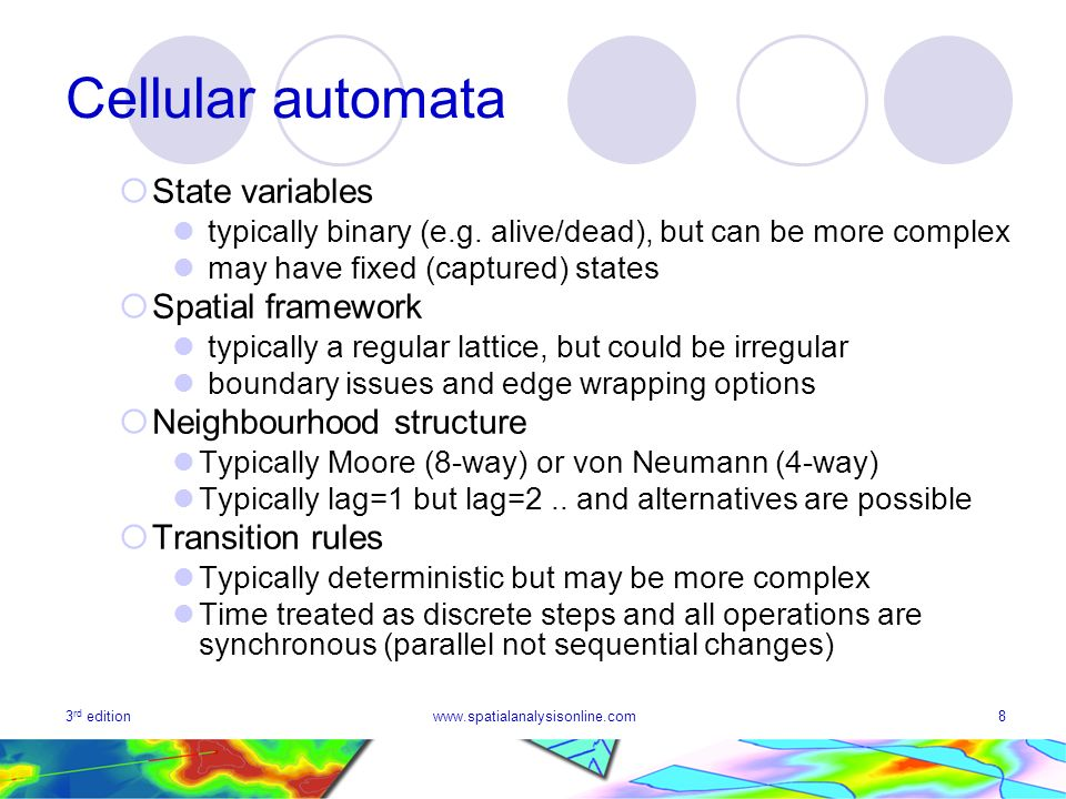 Cellular automata State variables Spatial framework