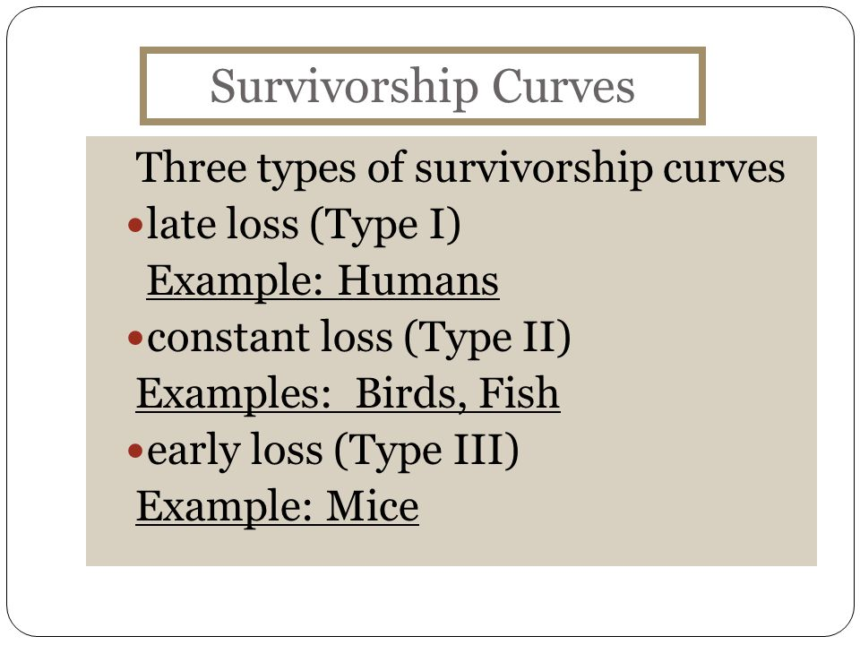Survivorship Curves Three types of survivorship curves