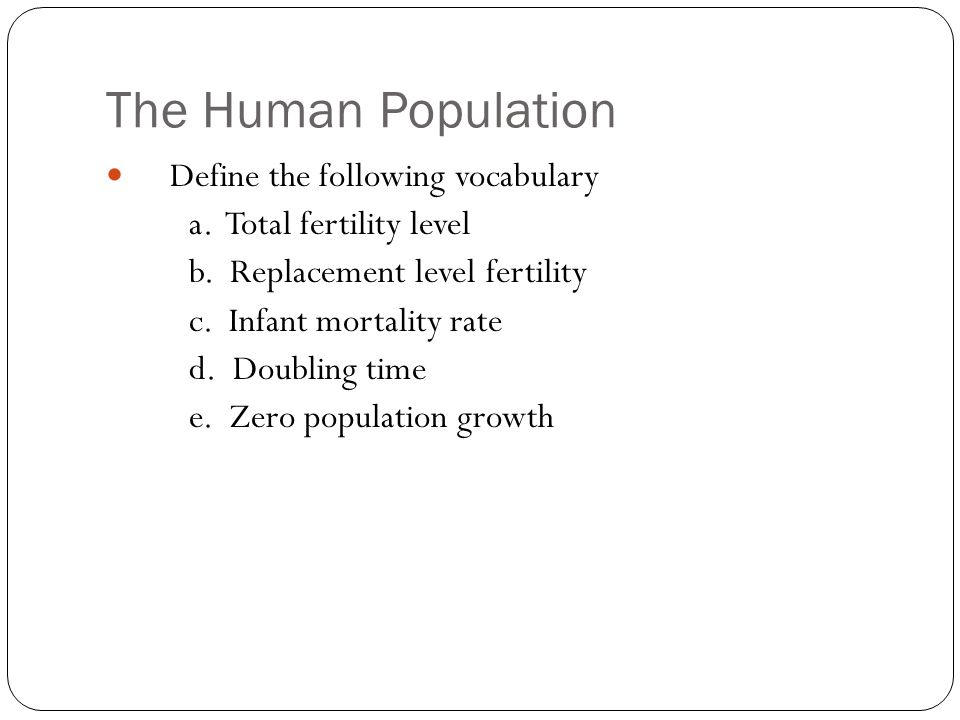 The Human Population Define the following vocabulary