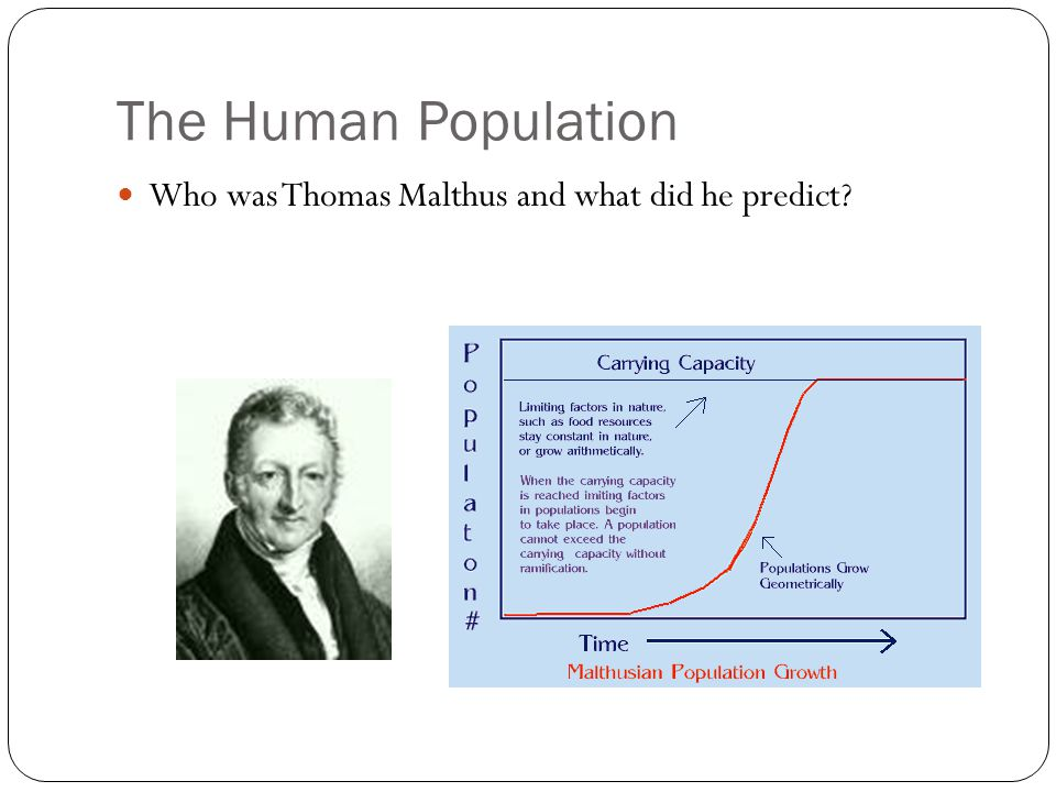 The Human Population Who was Thomas Malthus and what did he predict