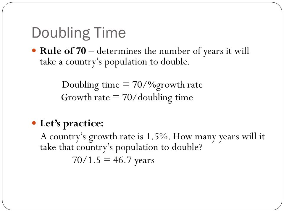 Doubling Time Rule of 70 – determines the number of years it will take a country's population to double.