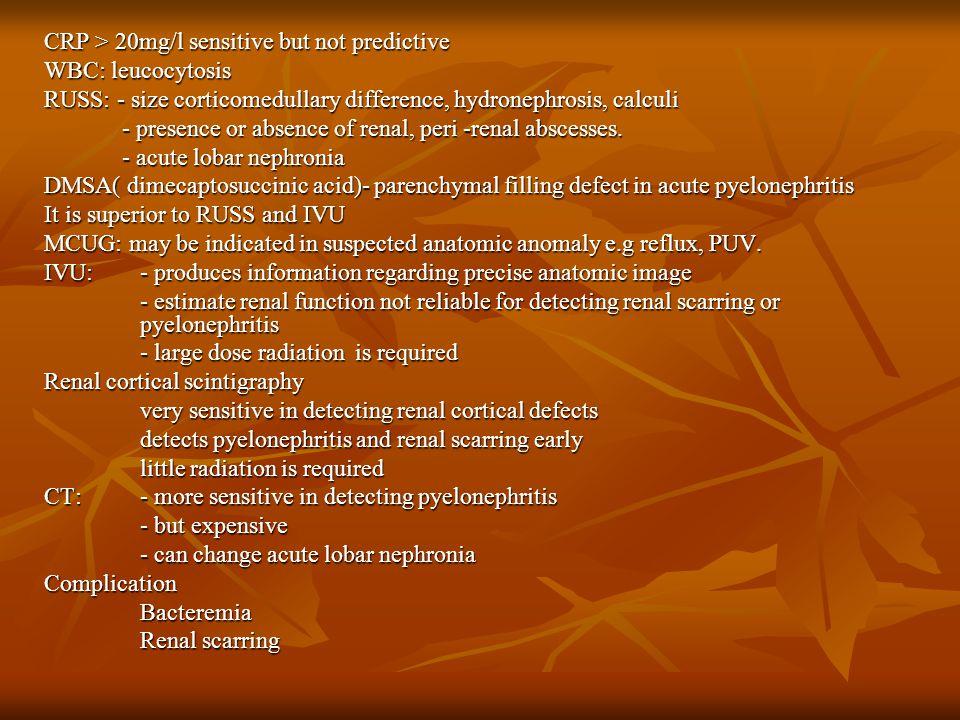 CRP > 20mg/l sensitive but not predictive