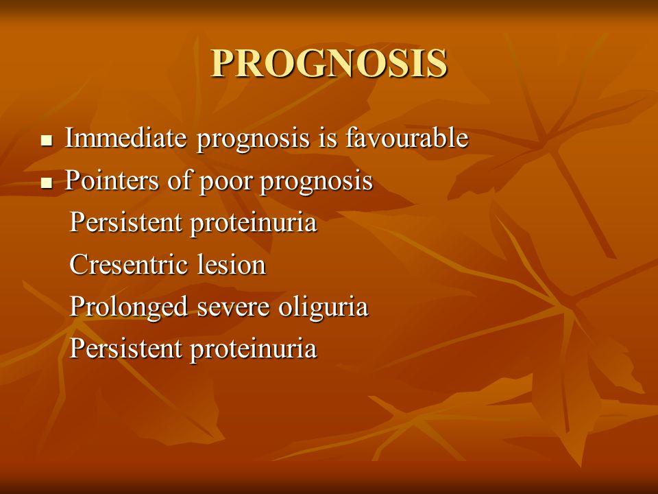PROGNOSIS Immediate prognosis is favourable Pointers of poor prognosis