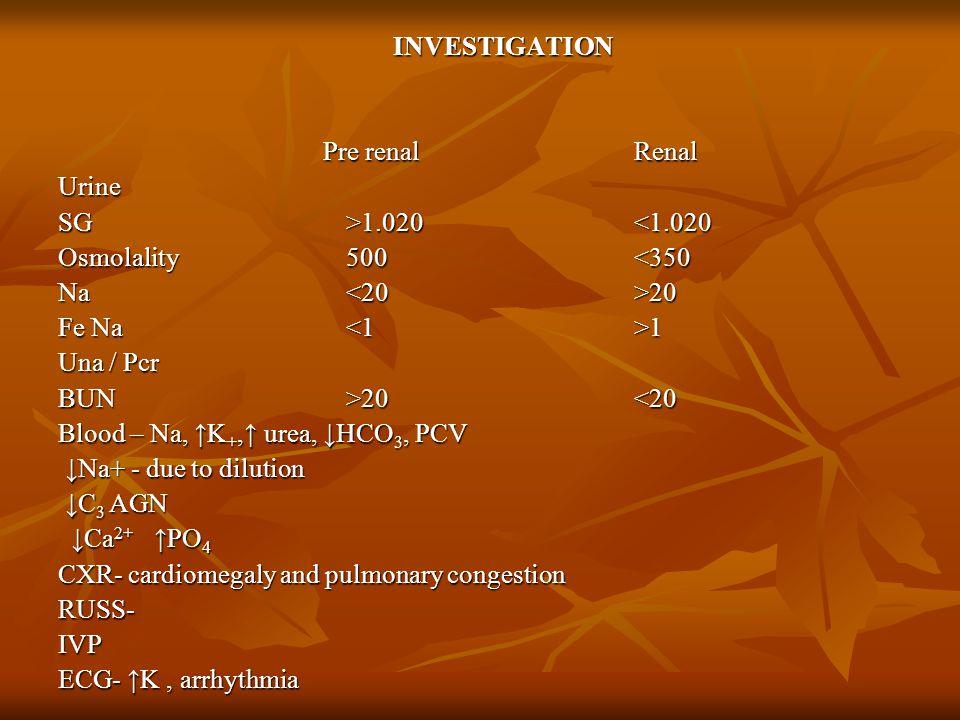 INVESTIGATION Pre renal Renal. Urine. SG >1.020 <1.020. Osmolality 500 <350. Na <20 >20.