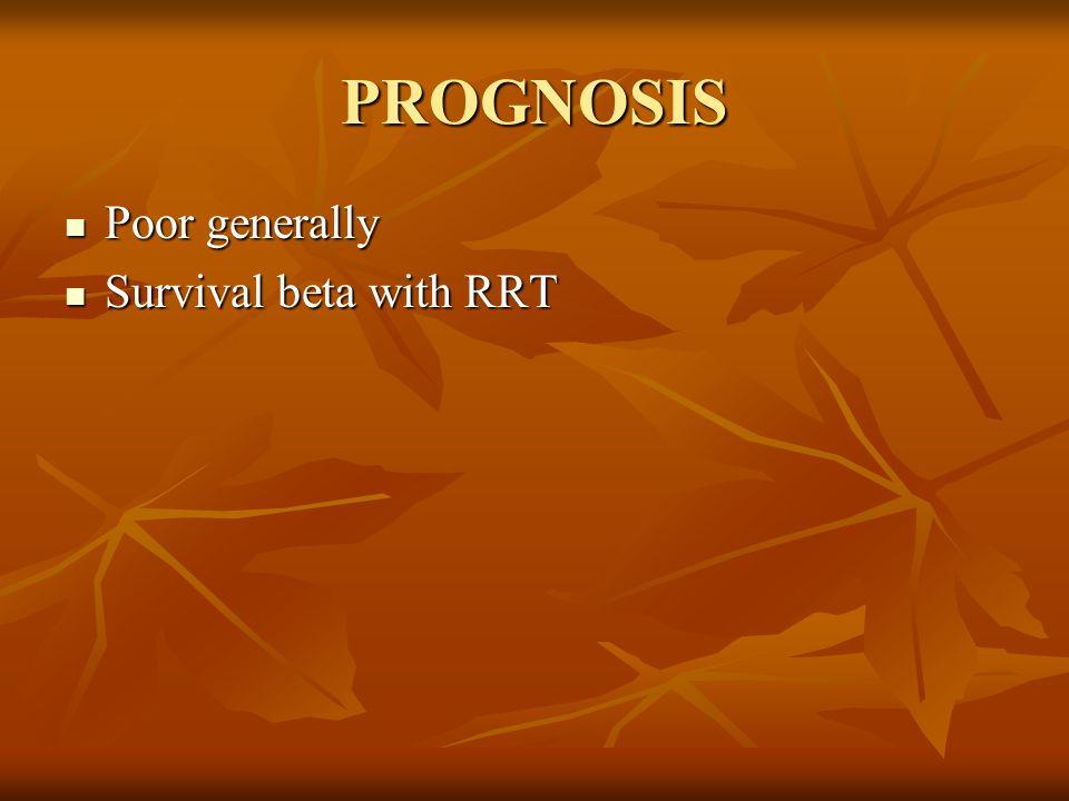 PROGNOSIS Poor generally Survival beta with RRT