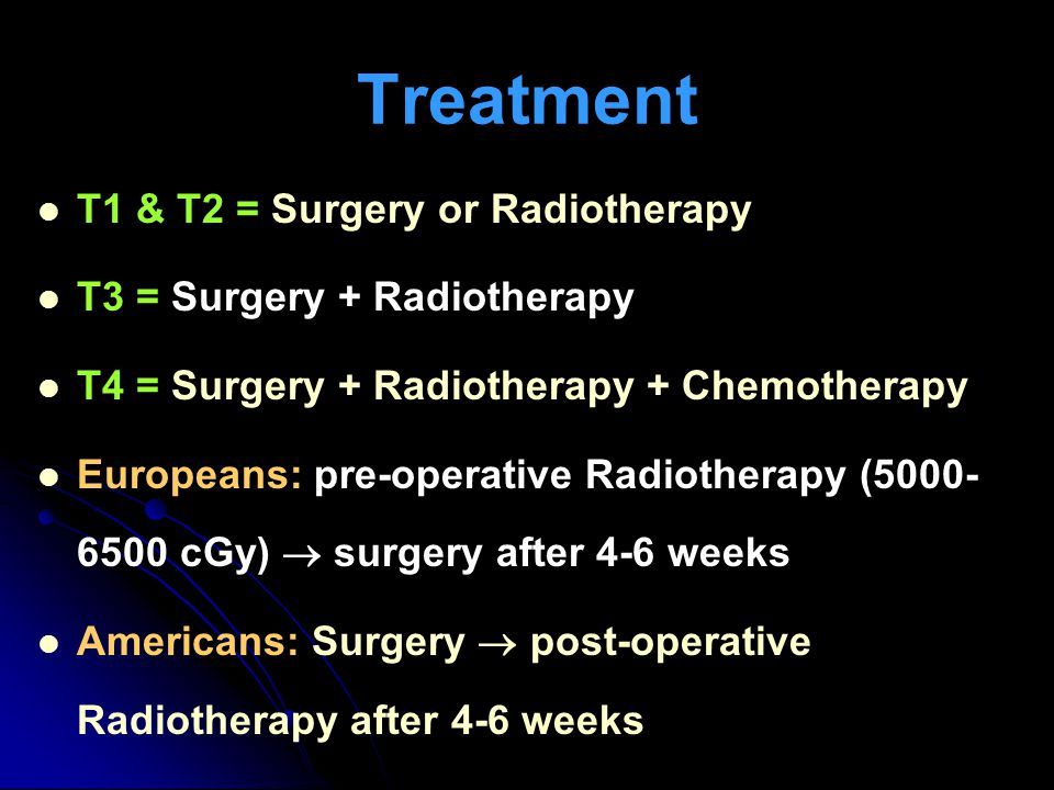 Treatment T1 & T2 = Surgery or Radiotherapy