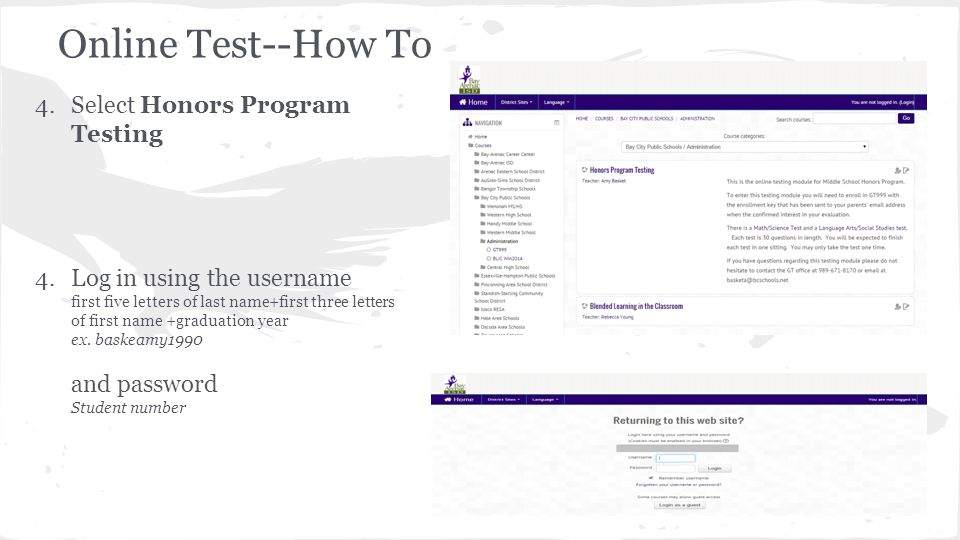 Online Test--How To Select Honors Program Testing