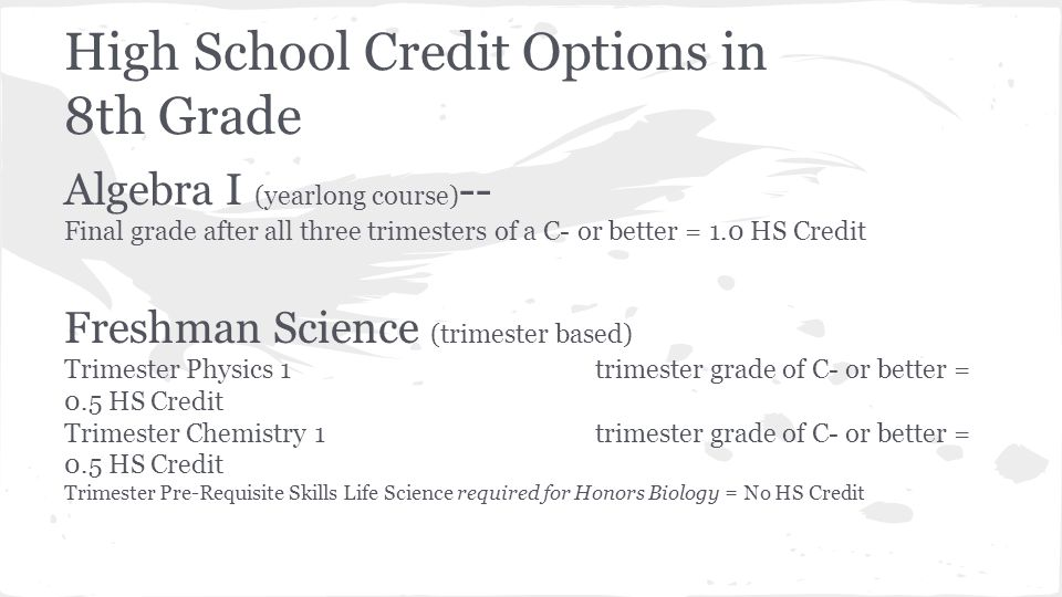 High School Credit Options in 8th Grade