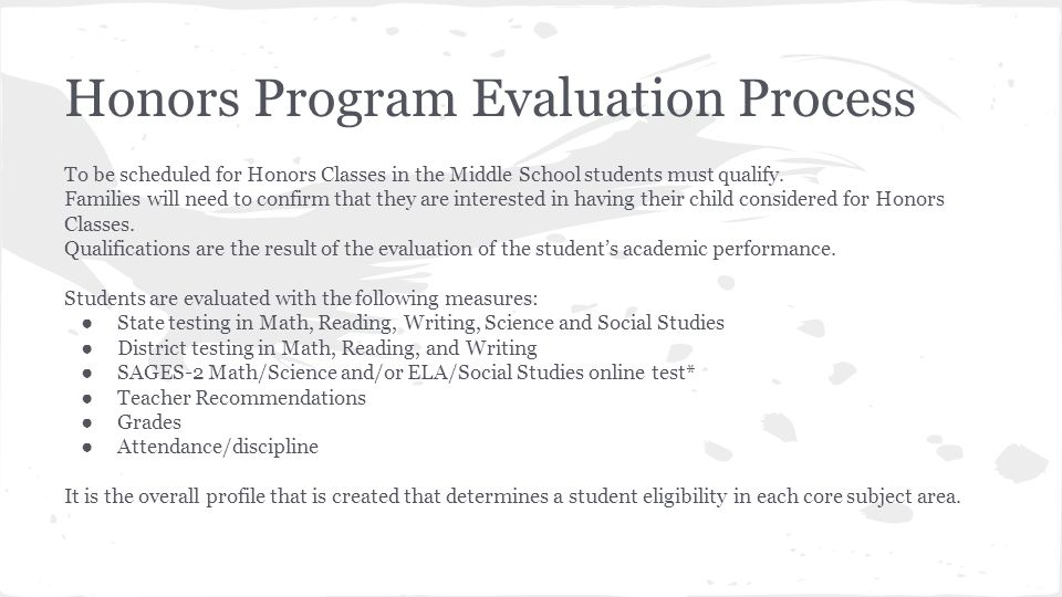 Honors Program Evaluation Process