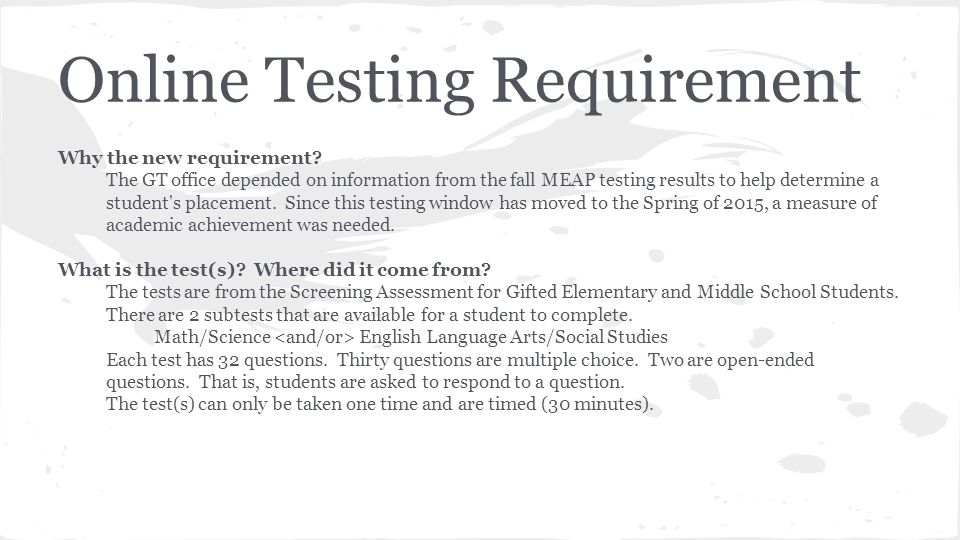 Online Testing Requirement