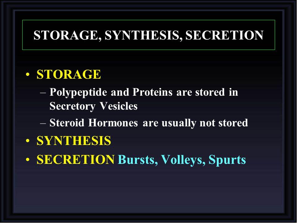 STORAGE, SYNTHESIS, SECRETION