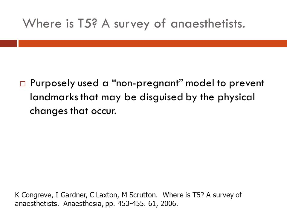 Where is T5 A survey of anaesthetists.