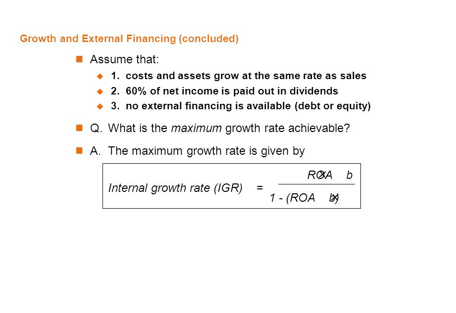 Growth and External Financing (concluded)
