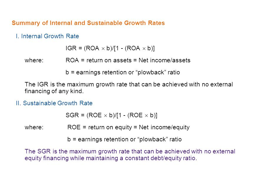 Summary of Internal and Sustainable Growth Rates