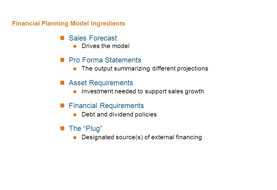 Financial Planning Model Ingredients