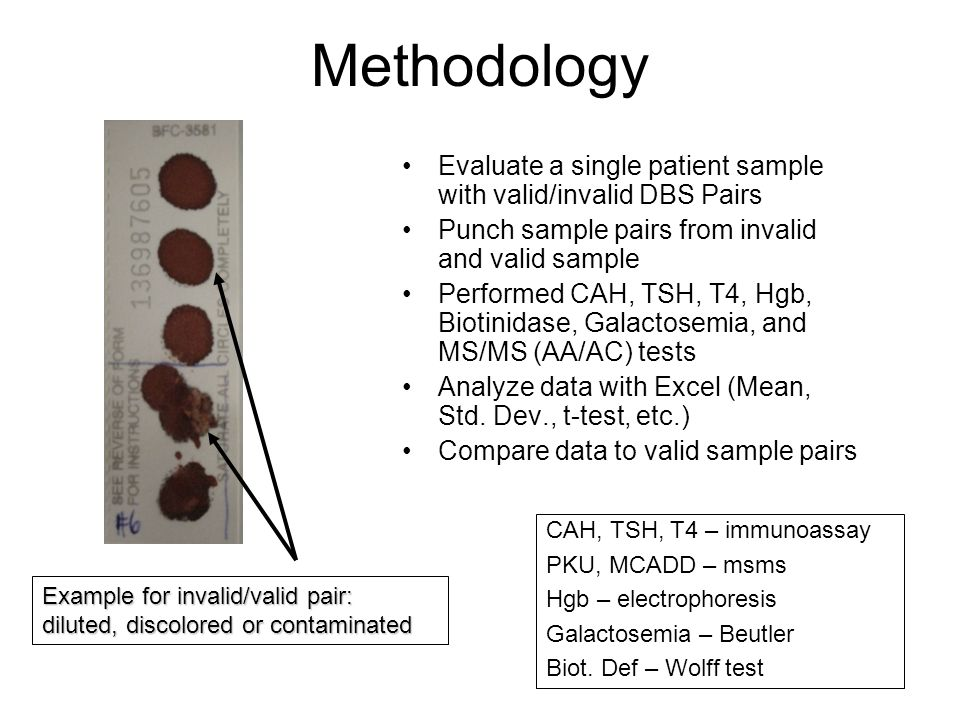 Methodology Evaluate a single patient sample with valid/invalid DBS Pairs. Punch sample pairs from invalid and valid sample.