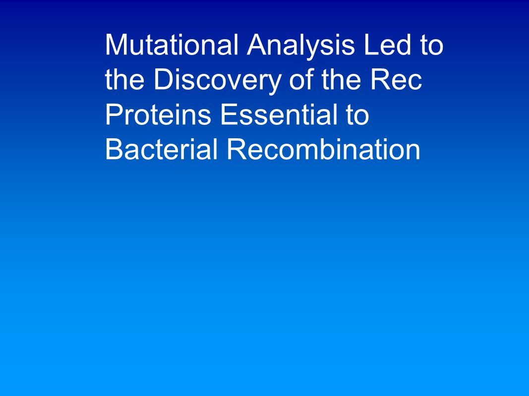 Mutational Analysis Led to the Discovery of the Rec Proteins Essential to Bacterial Recombination