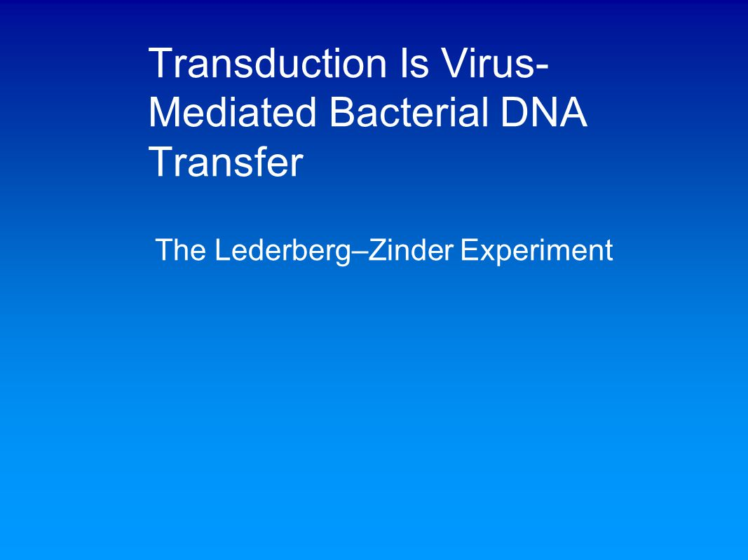 Transduction Is Virus-Mediated Bacterial DNA Transfer