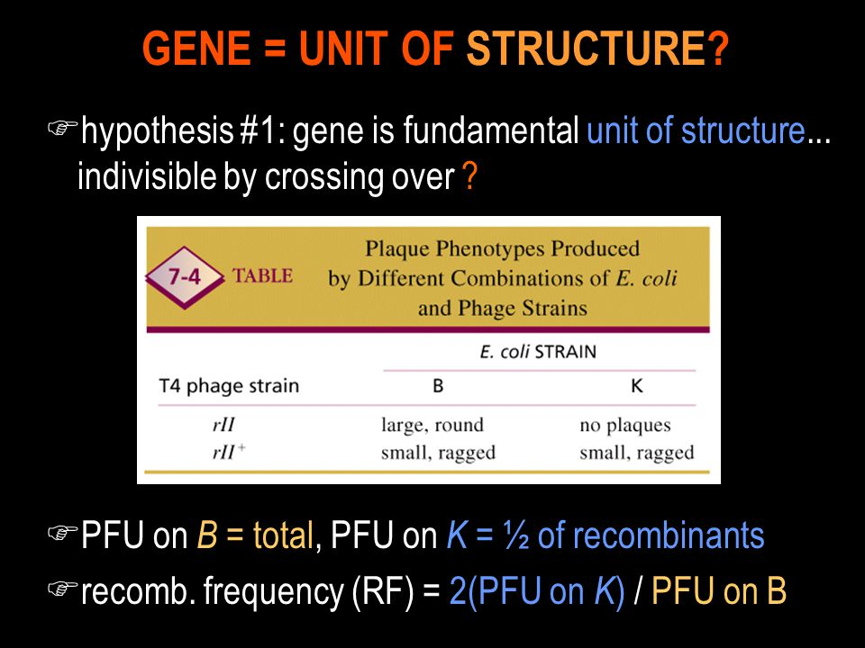 GENE = UNIT OF STRUCTURE