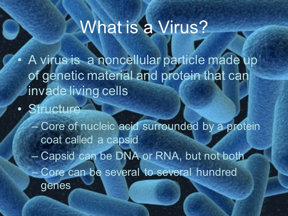 What is a Virus A virus is a noncellular particle made up of genetic material and protein that can invade living cells.