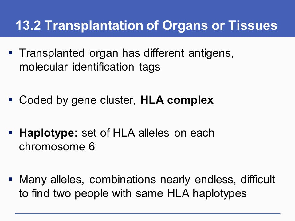 13.2 Transplantation of Organs or Tissues