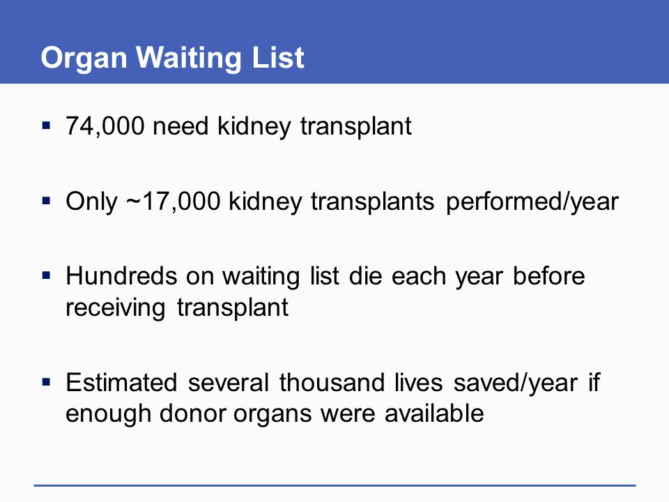 Organ Waiting List 74,000 need kidney transplant