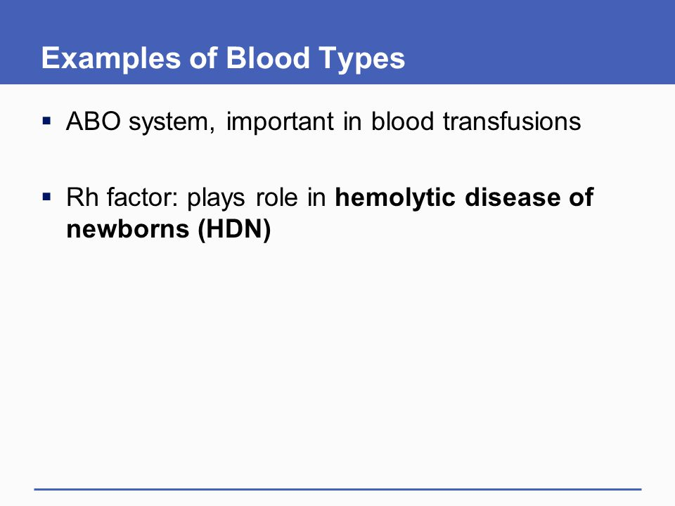 Examples of Blood Types