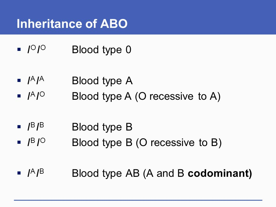 Inheritance of ABO I O I O Blood type 0 I A I A Blood type A