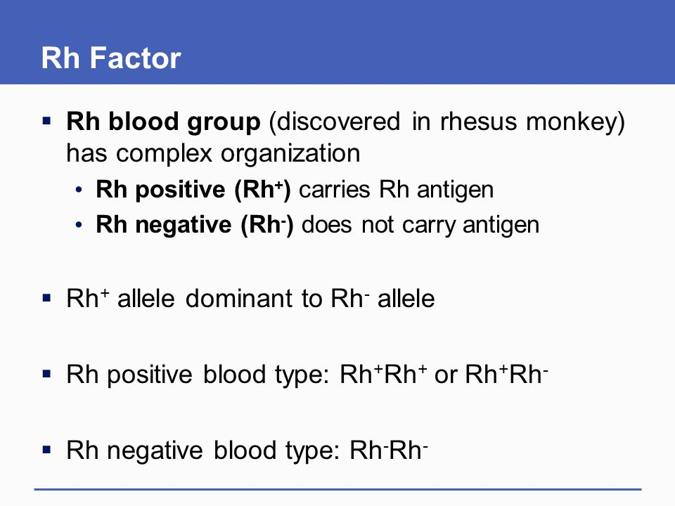Rh Factor Rh blood group (discovered in rhesus monkey) has complex organization. Rh positive (Rh+) carries Rh antigen.