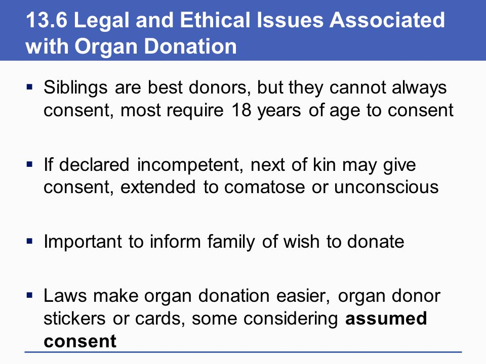 13.6 Legal and Ethical Issues Associated with Organ Donation