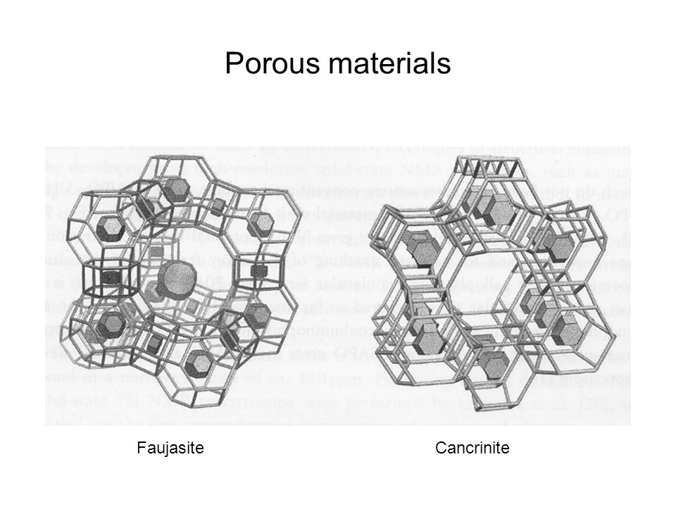 Porous materials Faujasite Cancrinite