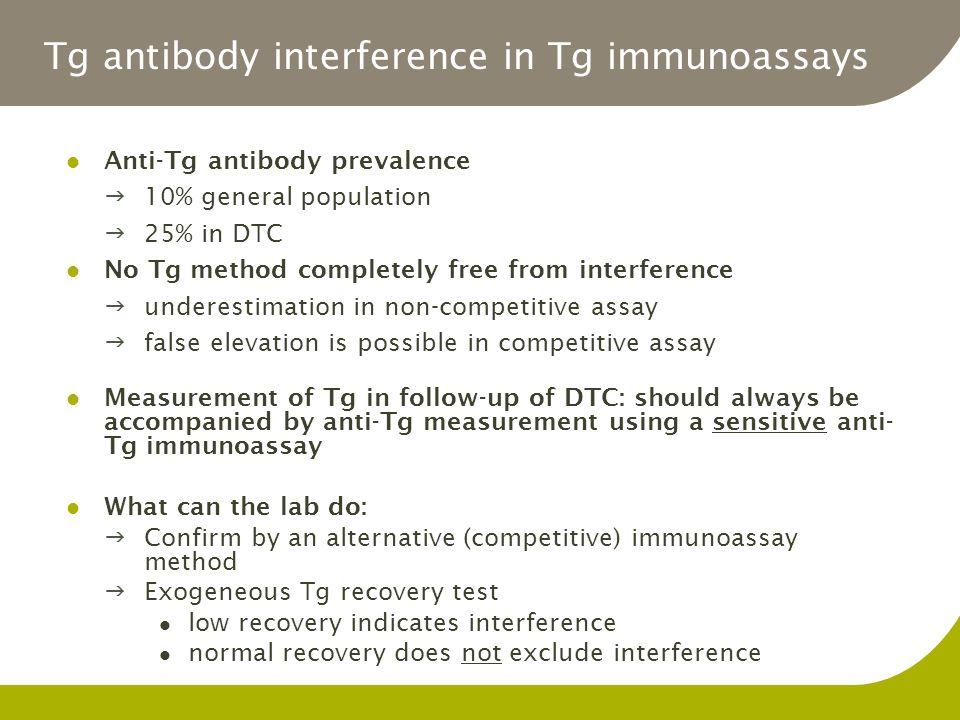 Tg antibody interference in Tg immunoassays