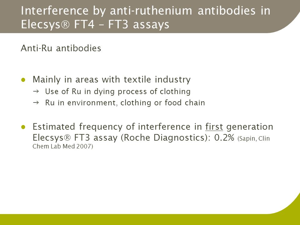 Interference by anti-ruthenium antibodies in Elecsys FT4 – FT3 assays