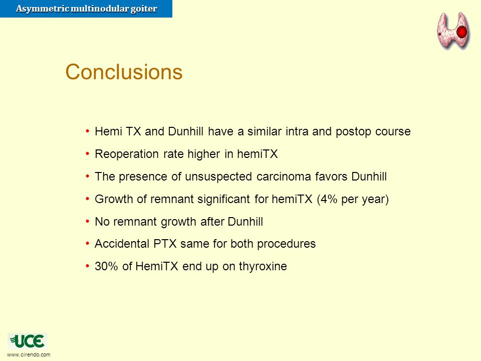 Conclusions Hemi TX and Dunhill have a similar intra and postop course